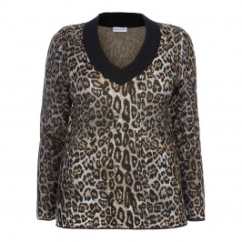 PER TE BY KRIZIA LUREX LEOPARD PRINT SWEATER - Plus Size Collection