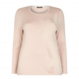 Krizia Nude Embellished Pearl Sweater - Plus Size Collection