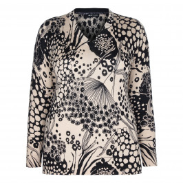 KRIZIA NUDE FLORAL PRINT V-NECK SWEATER  - Plus Size Collection