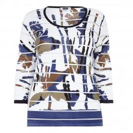 KRIZIA BURNOUT STRIPES BAMBOO PRINT SWEATER - Plus Size Collection