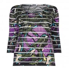 KRIZIA burnout stripes print SWEATER - Plus Size Collection