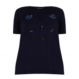 KRIZIA navy embellished T-SHIRT - Plus Size Collection