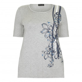 KRIZIA embelllished navy and white on grey T SHIRT - Plus Size Collection