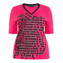 PER TE BY KRIZIA PINK PRINT TOP V-NECK - Plus Size Collection