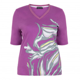 PER TE BY KRIZIA MAGENTA PRINT TOP V-NECK - Plus Size Collection