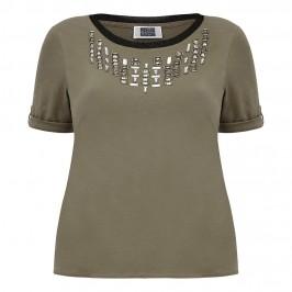 KRIZIA embellished khaki T SHIRT - Plus Size Collection