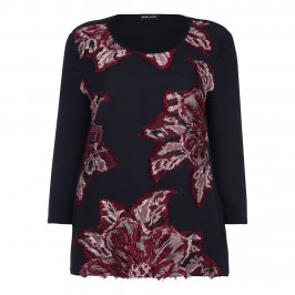 KRIZIA RED & BLACK LIGHT BROCADE TOP  - Plus Size Collection