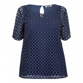 KRIZIA navy broderie anglaise crystal embellished TOP