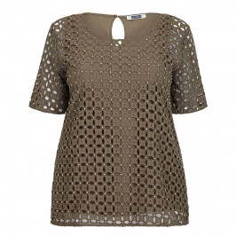 KRIZIA khaki broderie anglaise crystal embellished TOP - Plus Size Collection
