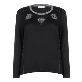 KRIZIA black embellished appliqués TOP - Plus Size Collection