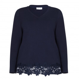 PER TE BY KRIZIA navy TOP with lace hem and lurex trim - Plus Size Collection