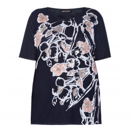 PER TE BY KRIZIA navy print TOP with sequin detail - Plus Size Collection