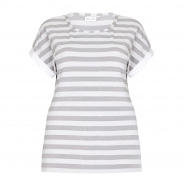 KRIZIA silver stripe print lurex TOP - Plus Size Collection
