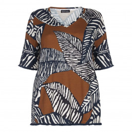 KRIZIA toffee palm print v-neck TOP - Plus Size Collection