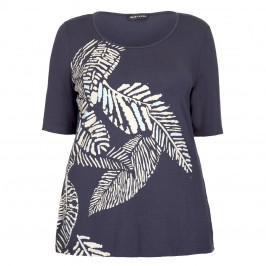 PER TE BY KRIZIA NAVY LEAF PRINT JERSEY TOP  - Plus Size Collection