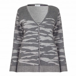 KRIZIA grey intarsia boyfriend CARDIGAN - Plus Size Collection