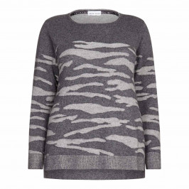 KRIZIA grey round neck intarsia SWEATER - Plus Size Collection