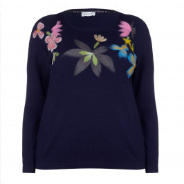 KRIZIA navy embroidered SWEATER - Plus Size Collection