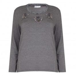 KRIZIA charcoal embellished appliqués TOP - Plus Size Collection