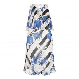TIA COLD SHOULDER PRINTED TEA DRESS - Plus Size Collection