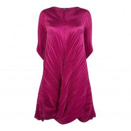 MASHIAH SATIN PLISSE TWISTED HEM DRESS IN FUCHIA - Plus Size Collection