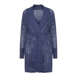 MARINA RINALDI LUREX ALPACA LONG CARDIGAN NAVY  - Plus Size Collection