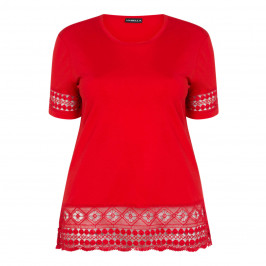 HABELLA ROUND NECK TOP WITH EMBROIDERY HEM RED - Plus Size Collection