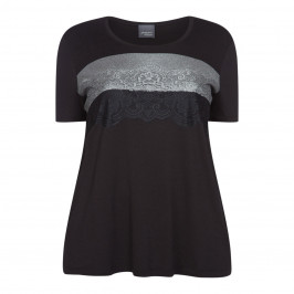 PERSONA BY MARINA RINALDI BLACK T-SHIRT WITH LACE - Plus Size Collection