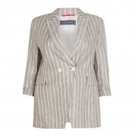 ROFA LINEN STRIPE JACKET BEIGE - Plus Size Collection