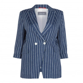 ROFA LINEN STRIPE JACKET BLUE - Plus Size Collection