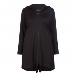 BEIGE LABEL ZIP UP HOODY BLACK - Plus Size Collection