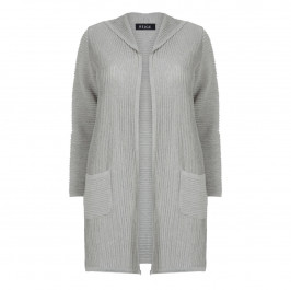 BEIGE LABEL LONG HOODED CARDIGAN GREY - Plus Size Collection