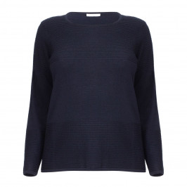 LUISA VIOLA RIBBED NAVY SWEATER - Plus Size Collection