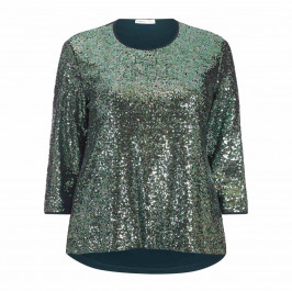 LUISA VIOLA SEQUIN FRONT TOP GREEN - Plus Size Collection