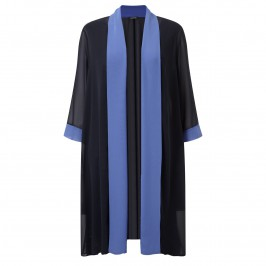 Luisa Viola long navy chiffon COAT - Plus Size Collection
