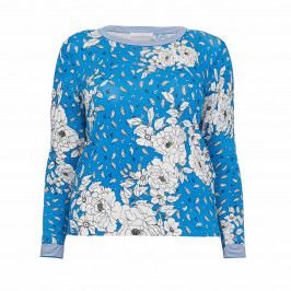 LUISA VIOLA PRINTED SWEATER BLUE - Plus Size Collection