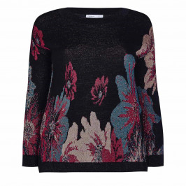 LUISA VIOLA FLORAL INTARSIA KNITTED TUNIC - Plus Size Collection