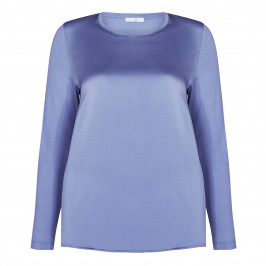 LUISA VIOLA SATIN TOP PALE BLUE - Plus Size Collection