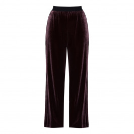 LUISA VIOLA PULL-ON FLUID VELVET TROUSERS BURGUNDY - Plus Size Collection