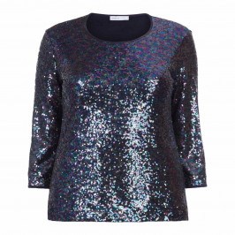 LUISA VIOLA SEQUIN FRONT TOP BLUE - Plus Size Collection