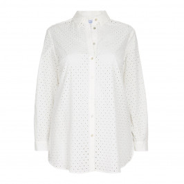 LUISA VIOLA WHITE BRODERIE ANGLAIS SHIRT - Plus Size Collection