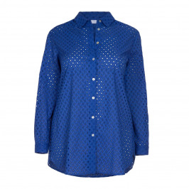 LUISA VIOLA blue BRODERIE ANGLAIS SHIRT - Plus Size Collection