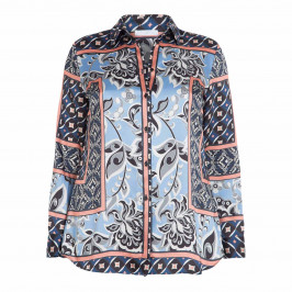 LUISA VIOLA SCARF PRINT SHIRT BLUE - Plus Size Collection