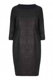 LUISA VIOLA BLACK COLLAR JACQUARD DRESS WITH LUREX  - Plus Size Collection