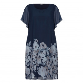 LUISA VIOLA NAVY FLORAL PRINT CHIFFON DRESS - Plus Size Collection