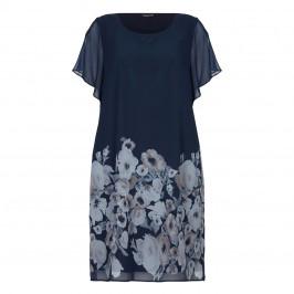 LUISA VIOLA NAVY FLORAL PRINT CHIFFON DRESS - Plus Size Collection
