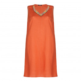 LUISA VIOLA orange beaded neckline DRESS - Plus Size Collection
