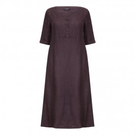 Luisa Viola aubergine linen DRESS - Plus Size Collection