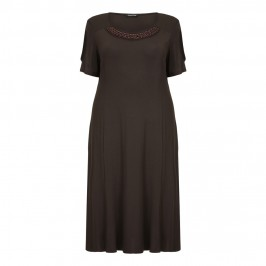 LUISA VIOLA chocolate brown jersey DRESS - Plus Size Collection