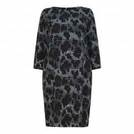 LUISA VIOLA abstract houndstooth print stretch DRESS - Plus Size Collection